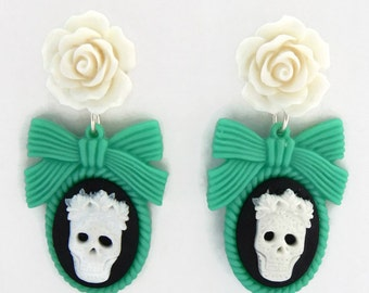 Sugar Skull Cameo and Rose Earrings - Green, White and Black