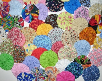 """Fabric YoYo Assortment, 60 Multi Color Prints And Solids, 2"""" Size, Appliques, Embellishments, Crafting"""