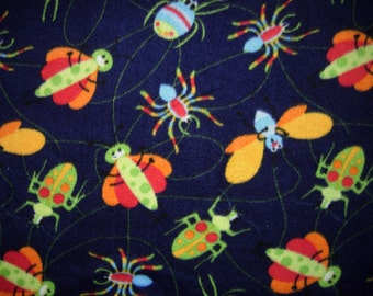 Fleece Fabric, Child's Print With Large Bugs, 1 Yard