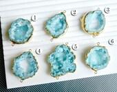 Druzy,, Druzy pendant, 7% off Geode druzy, connector, Matte Gold plated Edge aquamarine drusy Pendant, aquamarine blue color, JSl-8934