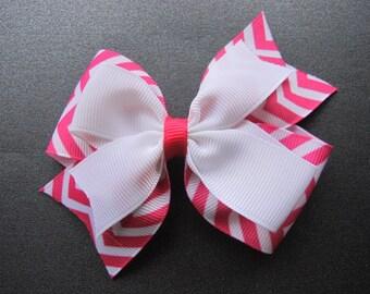 Hot Pink and White Chevron Layered Half Pinwheel Bow--Girls Hair Bow--Chevron Bow--Hairbow--Pink Hairbow