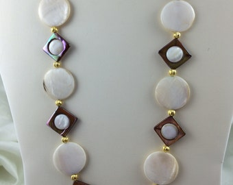 Mother of Pearl Necklace  casual or dress gold accents