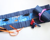 Crayon Roll - Shark Fabric