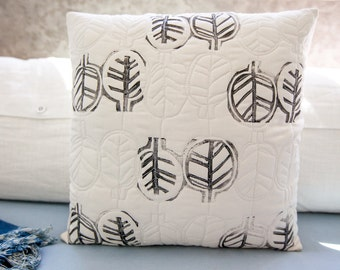 Hand-printed quilted modern pillow cover leaf design 17x17 for home graphic design