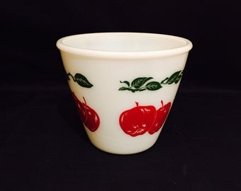 Vintage Mixing Bowl Milk Glass With Red Apples And Green Leafs Hazel Atlas 5 Inch Bowl 1950s