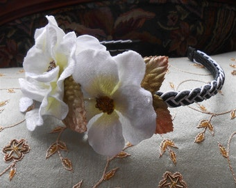 Black White Headband Velvet Flower Braided Headpiece White Flowers Party Vintage Style Headbands Wedding Hair Accessories Headbands Tiaras