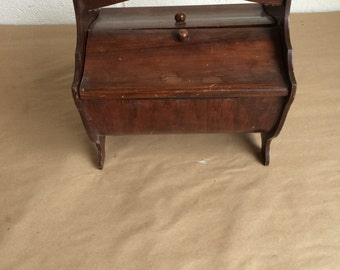 Vintage Small Wooden Sewing Box