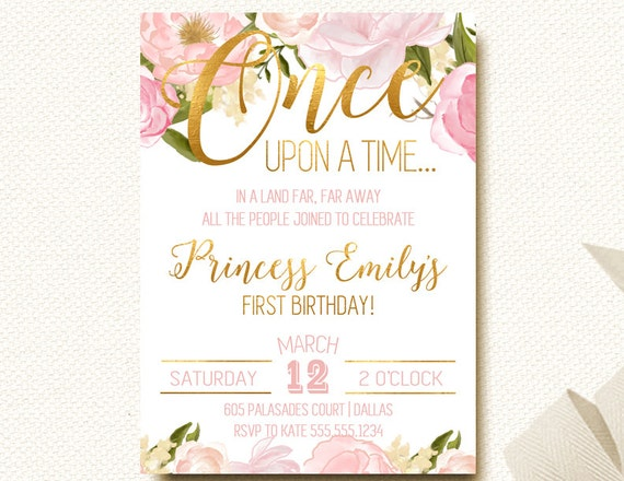 Once Upon A Time Fairy Tale Birthday Boho Chic Invitation