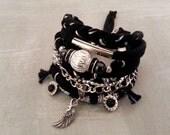 Bohemian Bracelet, Black Silver Bracelet, Boho Style Jewelry, Black Gypsy Bracelet, Rocker Bracelet, Punk Bracelet, Heavy Metal Bracelet