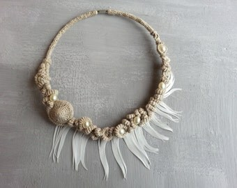 Rustic Bridal Necklace Woodland Fairy Floral Wreath Fiber Necklace