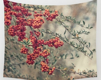 Wall Tapestry Wall Hanging Wall Art Red Berries