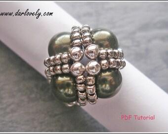 Beaded Pearl Ring Tutorial Pattern - Green Pearl Metal Ring (RG082) - Beading Jewelry PDF Tutorial (Digital Download)