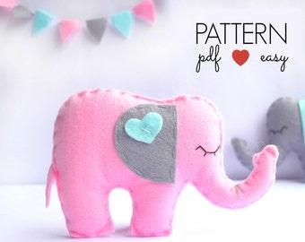 Stuffed Elephant Pattern, Felt Elephant Sewing Pattern, Softie, Plush, Toy, Topper, Baby Mobile, Animal Pattern