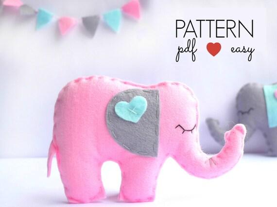 Stuffed Elephant Pattern Felt Elephant Sewing Pattern