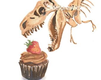 Dinosaur Watercolor 5x7 PRINT - Cupcake Watercolour, Food Art, T-Rex Painting