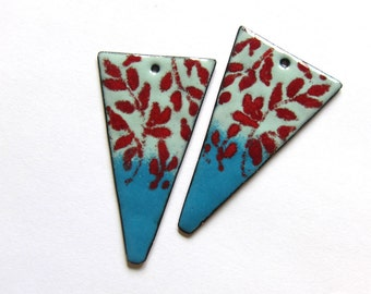 Enameled copper jewelry findings Red blue enamel components Big botanical triangle dangles Handmade charms