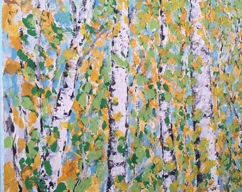 Birch  Aspen Trees Original Acrylic Painting on Large  Canvas 30 wide x 40 high  Commission/Made to Order  Ships in 5 - 7 business days Vick