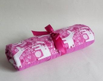 Unicorn Flannel Baby Blanket - Hot Pink & Purple with White Unicorns - Reversible Baby Blanket, Handmade Baby Shower Gift, Receiving Blanket