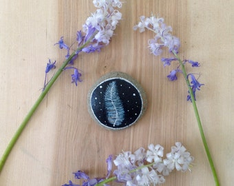 Home Decor, Hand Painted Stone, Feather,  One of a Kind
