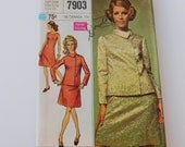 Vintage 60s Simplicity sewing pattern suit shift dress jacket size 12 1/2 Pattern Number 7903