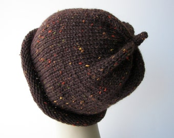 LUXE Classic 100% WOOL Beanie Hat in Enchanted BROWN/ Luxurious Tweed Knit Hat / Ready to ship