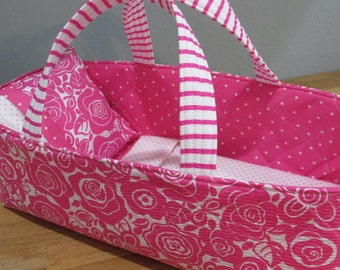 Doll Carrier, Bright Pink, Toddler Gift, Pink and White Floral