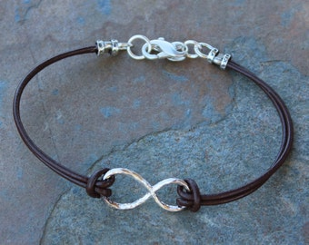 Forever Bracelet - Sterling Silver Infinity Sign - brown leather cord - other colors available - zen, love, anniversary- free US shipping