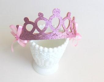 GLITTER Princess Crown Headband Bow Halloween LIGHT PINK