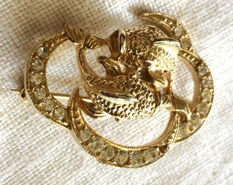 Brooch Zodiac Astrological Sign Gemini Twins Fish Ying Yang Rhinestone Goldtone Vintage Brooch