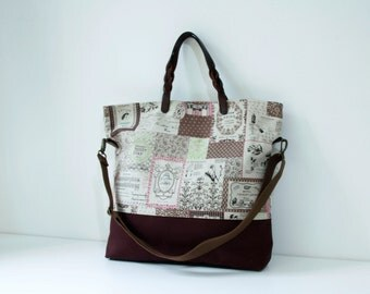 SALE - 2 way Tote bag with cow leather handles  and shoulder strap