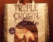 NEW LOW PRICE, Recycled  Upcycled  Repurposed  Market Grocery Tote or Gift Bag for Horse  Lovers