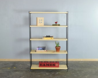 Mid Century Modern Wrought Iron and Wooden Shelf/Bookshelf/Display Shelf