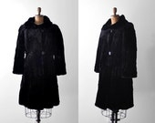 40's black fur coat. m. 1940's muskrat coat. hudson seal. collared. 1940 black coat.