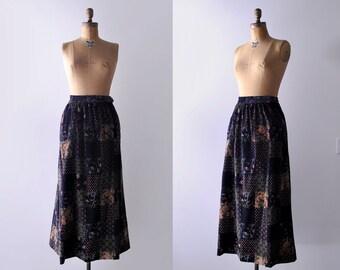 70's floral maxi. m. 1970's black skirt. colorful print. paisley. 70 velvet skirt. long. boho.