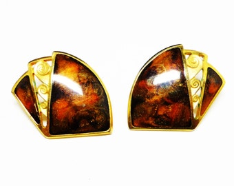 Vintage Brown Berebi' Earrings for Pierced Ears - Enamel Marbled & Goldtone - Retro Modernist Abstract Jewelry