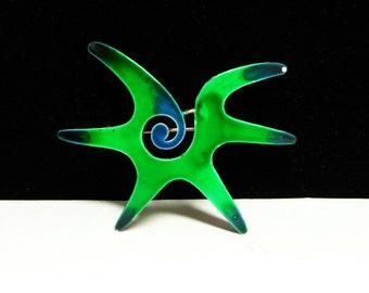 Pop Art Splat Brooch - Green and Dark Blue Enamel - 1970's MOD Pin - Rowan and Martin Laugh In Era - Vintage Jewelry