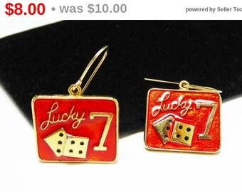 Lucky 7 Dice Earrings - Earrings for Pierced Ears, Orange Red Square Enamel Earrings - Vintage Gambler - Las Vegas Casino Jewelry