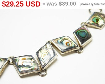 Sterling Silver Abalone Shell Bracelet - Diamond Shaped Links - Mexican Silver Modernist Shell Jewelry - Signed 925