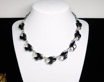 Black Lucite Leaf Necklace with Aurora Borealis - AB Rhinestones - 1950's 1960's Mid Century Style