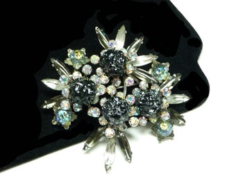 Large Vintage Rhinestone Brooch - Black & Grey with Navettes, Aurora Borealis Chatons and Black Silver Crater Splatter Balls - Judy Lee