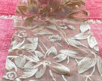 Vintage Lace Tulle Lace Silver Glitz Leaf Motif Craft Supply Embellishment Costume