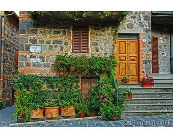 """Fine Art Color Travel Photography of Tuscany - """"Home and Flowers in Tuscan Hilltown"""""""