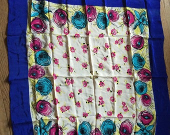 Vintage Silk Scarf MOD Flowers BOLD Colors Deep Blue Border Poppies and Mod Daffodils Silky Scarf True Blue Vintage
