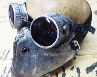 STEAMPUNK MASK - 2 pc. set Silver Pewter Distressed-Look Dust Riding Mask with Matching Steampunk Goggles - Burning Man Mask