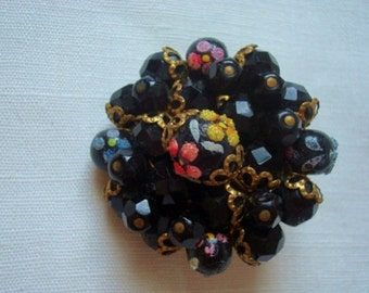 Vintage Beaded Cluster Brooch With Black Glass Beads Hand Painted Sugared Flowers