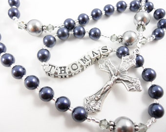 Personalized Rosary in Navy Blue and Medium Gray - Baptism, First Communion, or Confirmation for a Boy