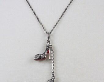 Silver chain necklace, High heel shoe charms Rhinestone encrusted, Soles red enamel, Stilettos, Four inch heels, Five inch heels