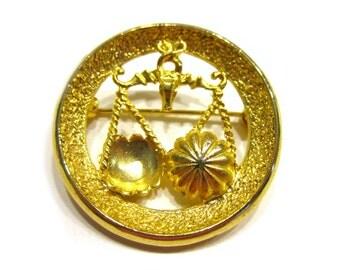 Vintage Libra Pin Astrological Horoscope Jewelry Brooch Gold Round Pin Astrological Horoscope Jewelry Designer Signed September Gift for Her