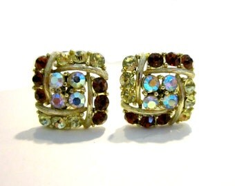 Vintage Rhinestone Earrings Vintage Clip Diamond Square Clip On Yellow Brown Aurora Borealis Earrings Gift for Her Gift for Mom