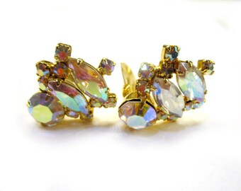 Aurora Borealis Earrings Clip Large Vintage Wedding Earrings